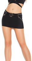 Buckle and Zipper Mini Skirt
