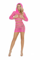 Hooded Fishnet Cupless Mini Dress