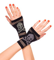 Skull and Crossbones Studded Gloves