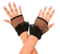 Fringed Diamond Net Gloves