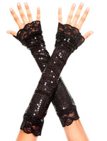 Sequins and Lace Arm Warmers
