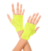 Neon Green Lace Fingerless Gloves