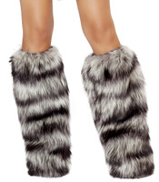 Black and Grey Fur Leg Warmers