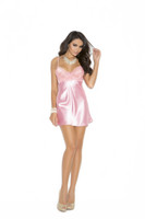 Pink Satin and Lace Babydoll and Panty Set