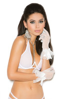 Ruffle and Mesh Wrist Length Gloves with Satin Bow