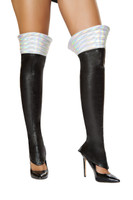 Black Iridescent Space Girl Leg Warmers