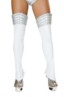 White Iridescent Space Girl Leg Warmers