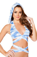 Graphic Print Hooded Wraparound Halter Top