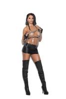 Leather and Chain Mini Dress
