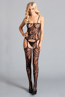 Retro Graphic Print Suspender Bodystocking