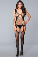 Cutout Suspender Fence Net Bodystocking