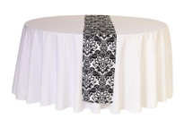 12 x 108 inch Damask Table Runners White and Black