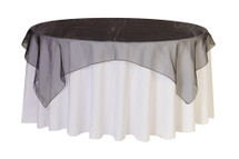 72 inch Square Organza Table Overlays Black