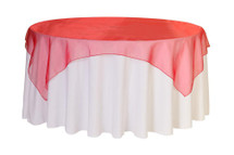 """Organza Overlay 90"""" x 90"""" Square - Red"""