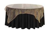 90 inch Square Organza Table Overlays Champagne