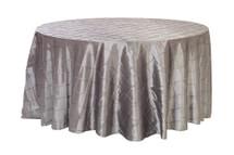 120 Inch Pintuck Taffeta Round Tablecloths Dark Silver / Platinum