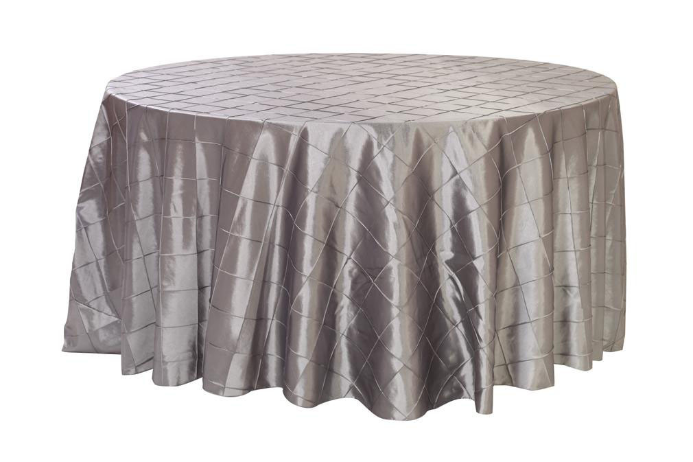 Dark silver pintuck tablecloths 120 inch round pintuck for 120 inch table linens