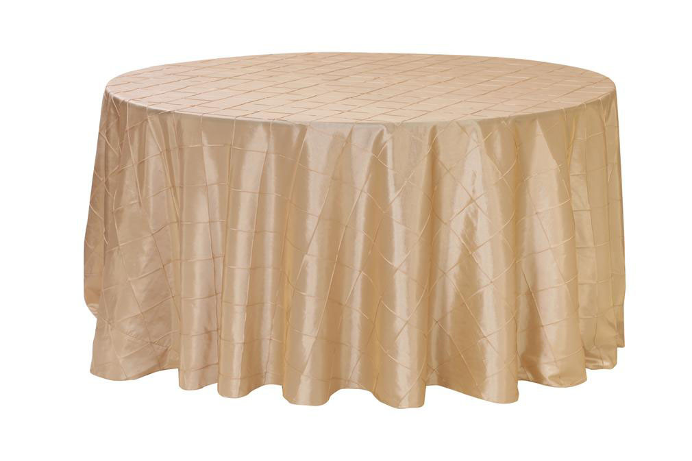 Champagne Pintuck Tablecloths, 120 inch Round Pintuck Table Linens for Weddings