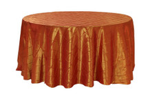 120 Inch Pintuck Taffeta Round Tablecloths Burnt Orange