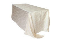 90 x 156 inch Pintuck Taffeta Rectangular Tablecloths Ivory