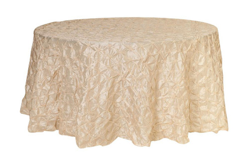 Ivory pinwheel pinched tablecloths belly button table for 120 inch round table cloths