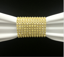 Dazzling Diamond Rhinestone Chair Sash Slips / Napkin Rings Gold