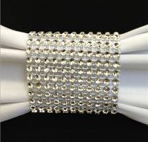 Dazzling Diamond Rhinestone Chair Sash Slips / Napkin Rings Silver