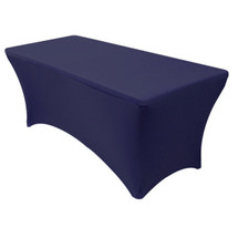 Stretch Spandex 6 Ft Rectangular Table Covers Navy Blue