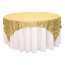 72 inch Square Crinkle Taffeta Table Overlays Gold