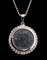 CPR207 - CONSTANTINE ANCIENT CHRISTIAN ROMAN ANGEL COIN IN 14KY GOLD BEADED PENDANT SETTING