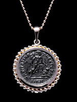 CPR209 - CONSTANTINE ANCIENT CHRISTIAN ROMAN ANGEL COIN IN 14KY GOLD BEADED PENDANT SETTING