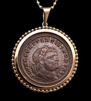 CPR202 - LARGE IMPRESSIVE ANCIENT SILVERED FOLLIS ROMAN COIN IN 14KT GOLD BEADED PENDANT SETTING