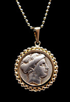 CPG203 - ANCIENT GREEK NYMPH HEMIDRACHM COIN PENDANT IN BEADED 14KT GOLD SETTING