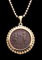 "CPR222 - ""THE GLORY OF THE ARMY"" ANCIENT CHRISTIAN ROMAN CONSTANS COIN PENDANT IN 14K GOLD"