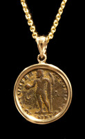 CPR216 - ANCIENT ROMAN JUPITER GOD COIN FROM LICINUS IN 14 KARAT GOLD PENDANT SETTING