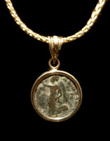 CPR214 - ANCIENT ROMAN VICTORY ANGEL COIN IN 14KY PENDANT SETTING