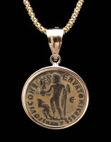 CPR146 - ANCIENT ROMAN JUPITER GOD COIN FROM LICINUS IN 14 KARAT GOLD PENDANT SETTING