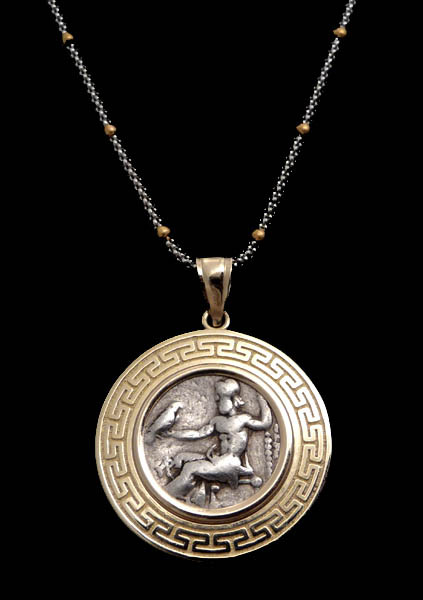 Ancient Greek Coin Alexander Eagle Zeus Gold Pendant