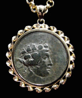 CPG004 - ANCIENT GREEK DIONYSOS WINE GOD BRONZE COIN PENDANT