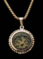 CB02 - WIDOW'S MITE COIN PENDANT WITH BEADED GOLD SETTING