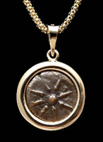 CB04 - WIDOW'S MITE COIN PENDANT WITH SMOOTH HIGH POLISHED GOLD SETTING
