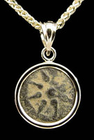 CB05 - WIDOW'S MITE COIN PENDANT WITH STAMPED HIGH POLISHED GOLD SETTING