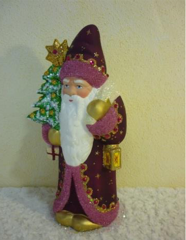 Schaller Santa in purple coat with pink trim
