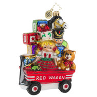 Christopher Radko My Little Red Wagon -front