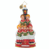 """Christopher Radko  Ornament of the Month - 2018 """"A Christmas to Remember"""" collection - Caroling Quintet - front"""