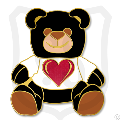 Teddy Bear Black with Red Heart