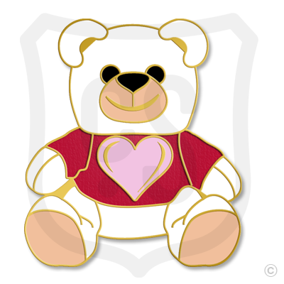 Teddy Bear White with Pink Heart