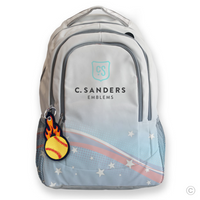 Flaming Softball Bag Tag on Backpack