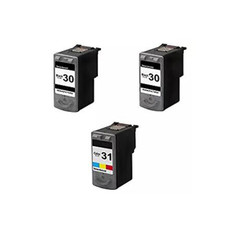 3 Pack Remanufactured Canon PG 30 CL 31 2 Black 1 Tri