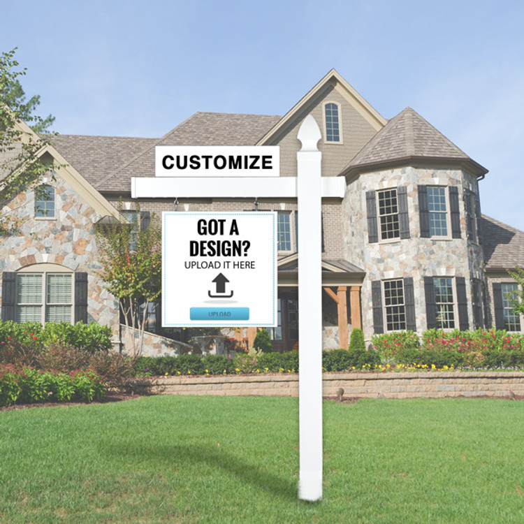 "Upload Your Own Design  24T x 24W Hanging Sign Kit - Real Estate Post 5' Tall 36"" Arm"